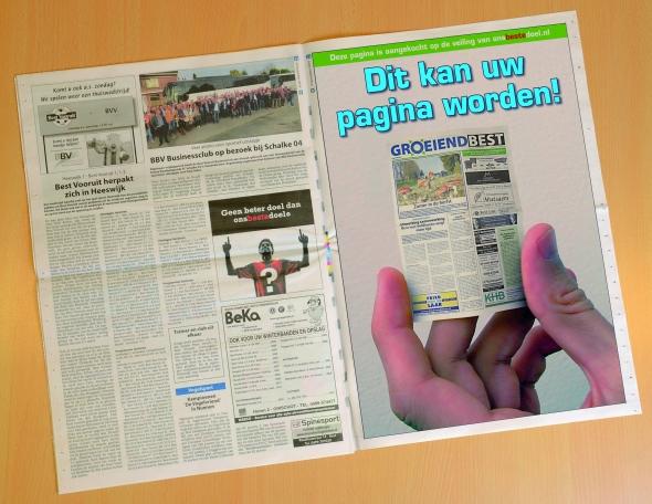 Een hele pagina FULL COLOR advertentieruimte in het weekblad Groeiend Best